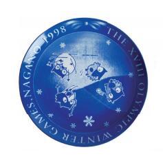 1998年長野冬奧會會徽、吉祥物瓷盤一對