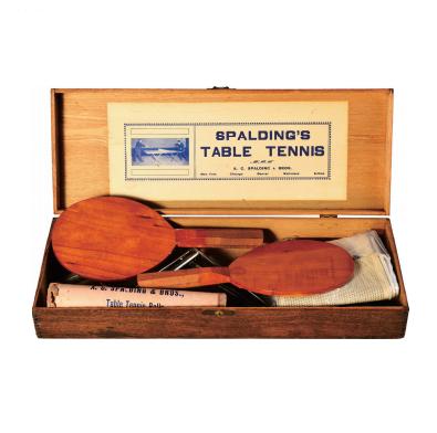 早期美國Spalding乒乓球(單打)套裝 (原木盒裝幀)